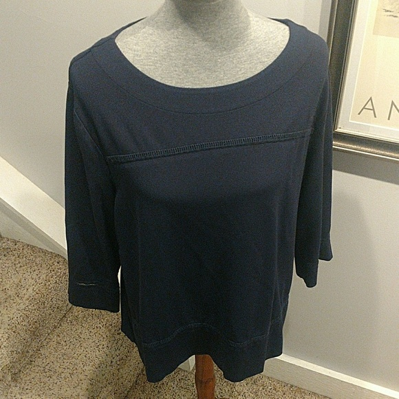 Chico's Tops - Chico's Size 3 Navy Boat Neck 3/4 Length Sleeves
